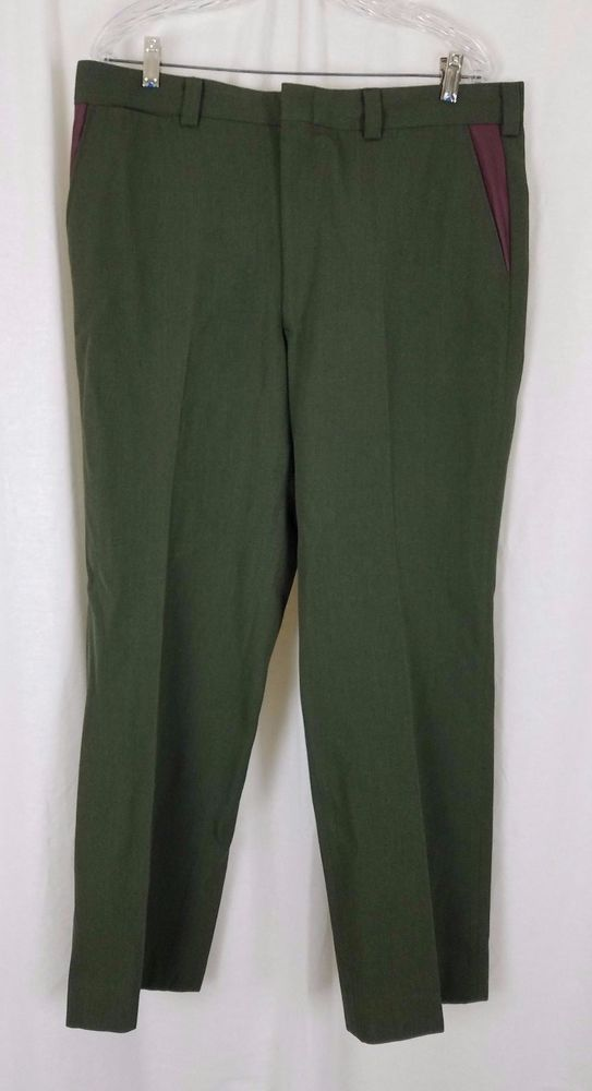 Vintage LL Bean Green Wool Twill Hunting Work Pants Mens 38 x 30 Leather Pockets #LLBean #CasualPants