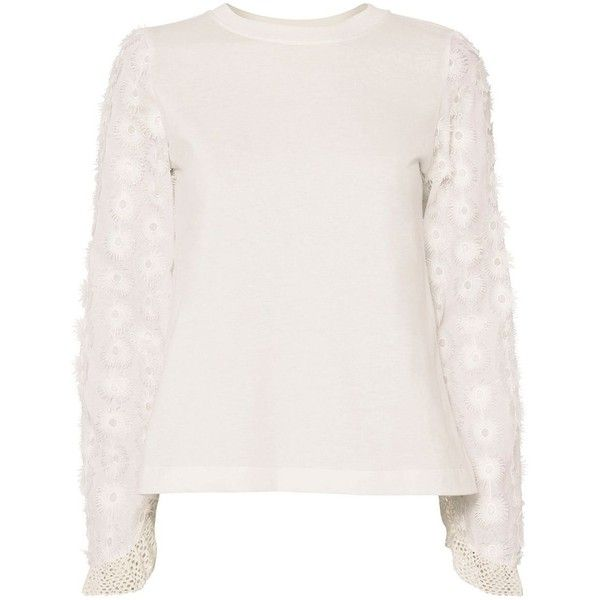 See By Chloé Women's Floral Sleeve Tee ($240) ❤ liked on Polyvore featuring tops, t-shirts, white, floral tee, long sleeve tops, long sleeve white t shirt, floral t shirt and cotton t shirts