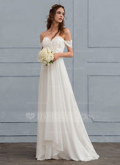 A-Line / Princess Off-the-Shoulder Sweep Train Chiffon Wedding Dress With Lace Beading Flower (002118437)