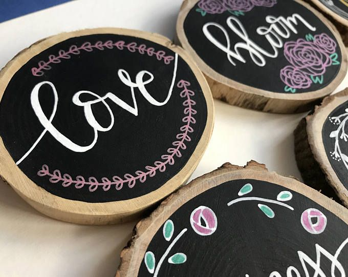 Wood Slice Ornament   Love Handpainted Chalkboard Woodslice   Wooden Art Illustration   Home Decor Woodslice   Coaster
