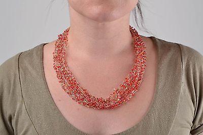 Handmade Rocailles Kette Damen Collier Halsketten Damen Halsketten Frauen rot