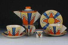 Clarice Cliff  MOROCCO CONICAL TEASET C.1929