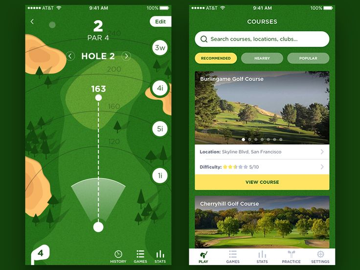 Dear Dribbblers,  Let us introduce you this very green and golf-oriented app. Choose any course you want and become even better than Tiger Woods!   P.S. golf clubs are included! ;)  Follow us on Tw...