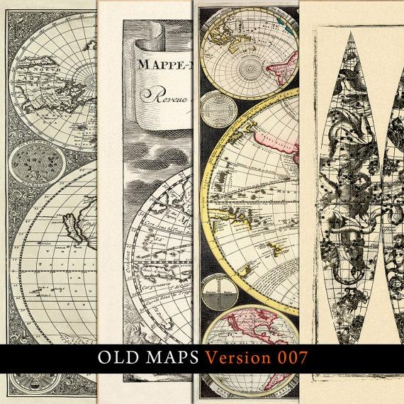 Vintage Old Maps kit of 4 Digital  Decoupage by IdrawUprint, $3.00