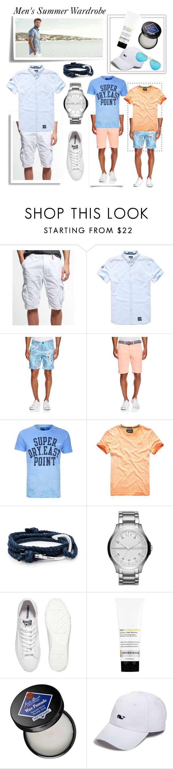 """Santa Cruz Beach Boardwalk Outfits"" by wind-chasing ❤ liked on Polyvore featuring Post-It, Superdry, MIANSAI, Armani Exchange, Converse, Menscience, Jack Black, Vineyard Vines, Ray-Ban and men's fashion"