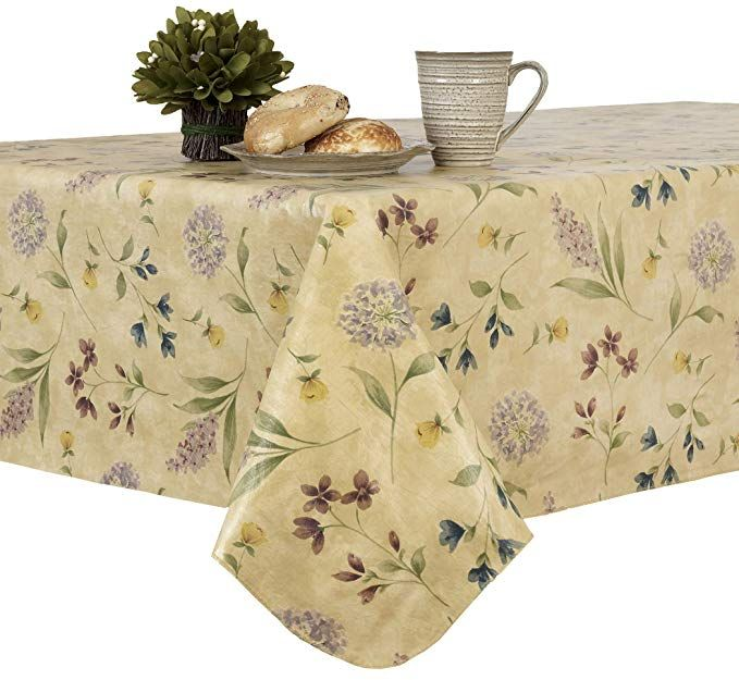 Amazon Com Everyday Luxuries Botanical Toss Flannel Backed Indoor Outdoor Vinyl Table Linens 60 Inch By 102 Inch Table Linens Rectangle Tablecloth Placemats
