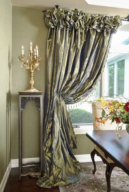 Formal Tied Back Drapery Silk Ruched Heading Dining