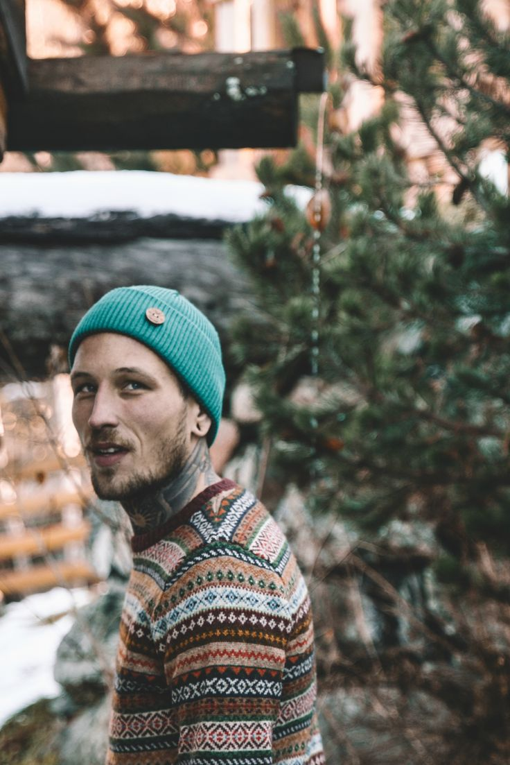 Winter outfit for Men. Wool Beanie Look. Organic Merino Wool beanies made ecological and Ethical from Sustainable materials.