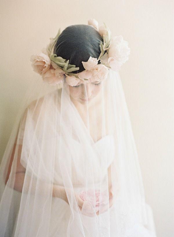 The Loveliest Wedding Hairstyles with Floral Crowns - Headpiece: Erica Elizabeth Designs