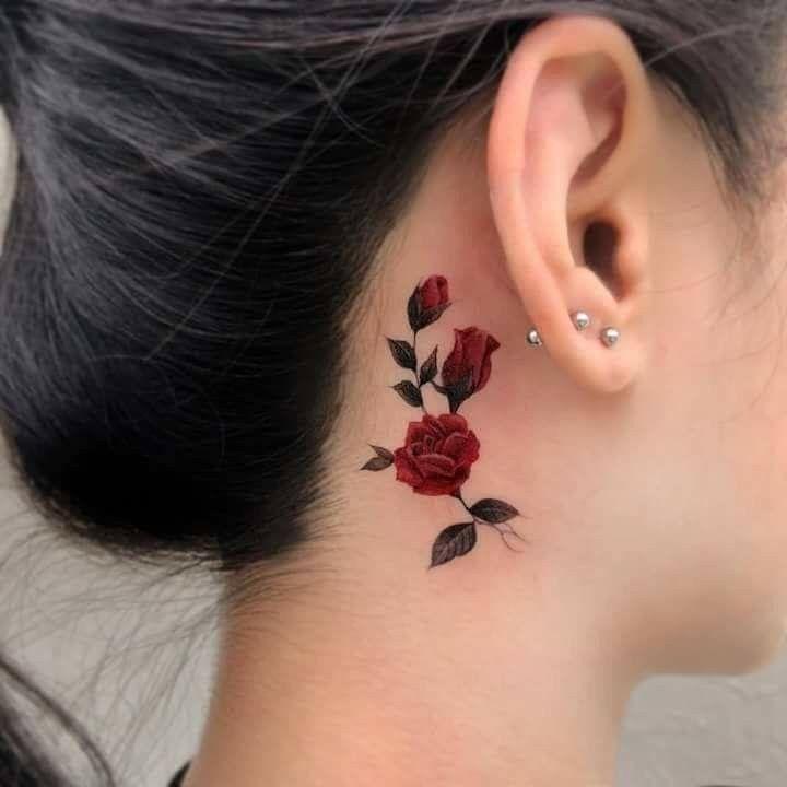Rose Behind The Ear Elegant Tattoos Tattoos Trendy Tattoos