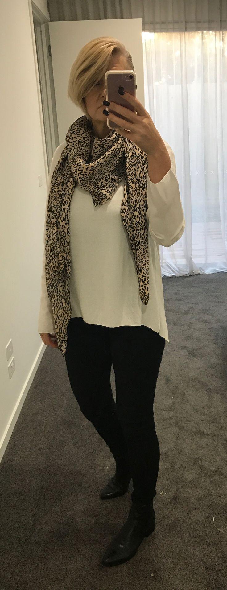Leopard print scarf worn again today - love leopard this season.  Read why at cazinc.com.au.