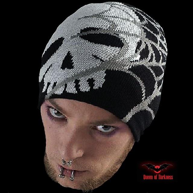 Bonnet Noir 'White Skull & Web'