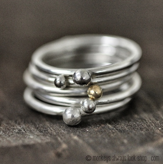 Modern Pebble Stacking Rings made from 100% recycled sterling silver and 14k yellow gold from MonkeysAlwaysLookShop.com