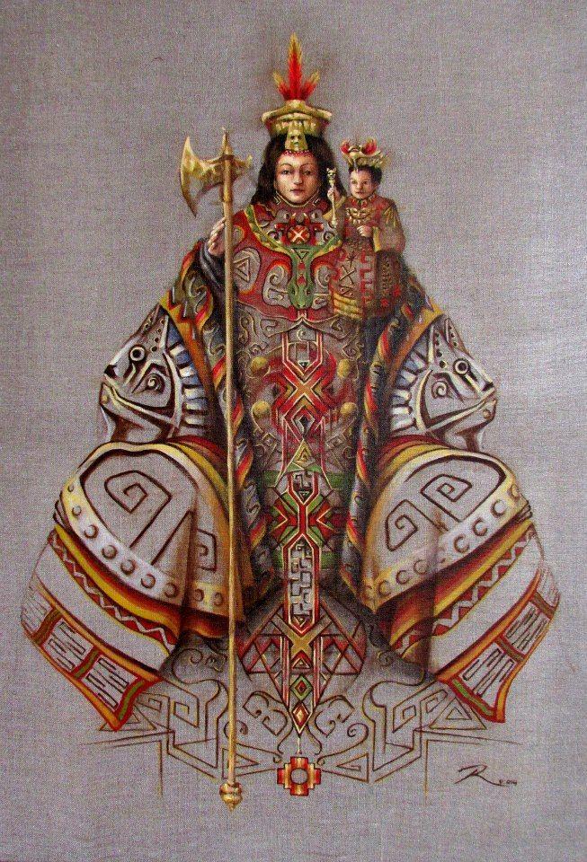 Pintura citando a la Virgen de Andacollo, con iconografía Diaguita