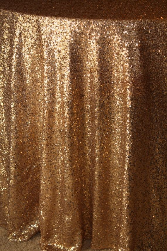Vintage Gold Sequin Tablecloth Dazzling Gold Metallic