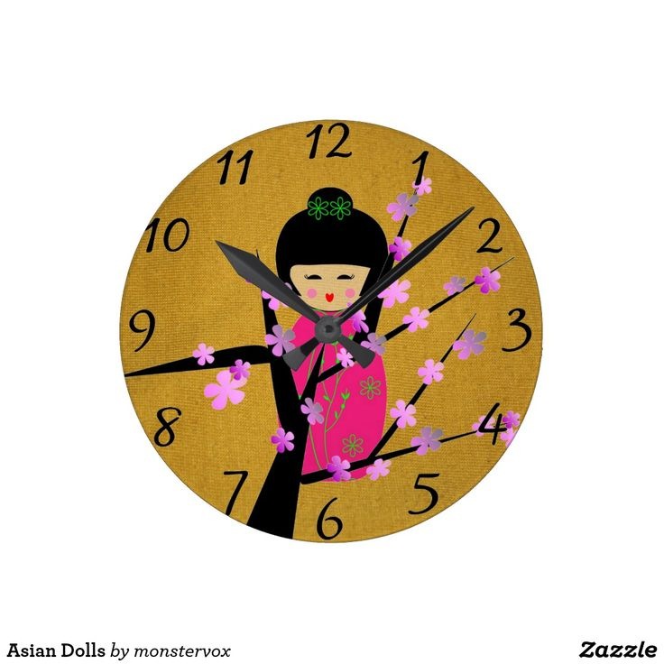 Asian Dolls Round Clock #Doll #Asian #Asia #Japan #Japanese #Tree #Flower #Home #Decor #Office #Time #Clock