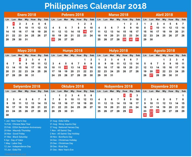 image result for philippine calendar 2019 with holidays