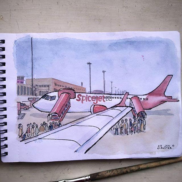 Aeroplane Sketchbook Watercolor Aviation Art Plane Drawing