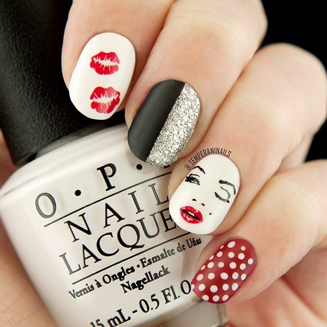 #nail #unhas #unha #nails #unhasdecoradas #nailart #gorgeous #fashion #stylish #lindo #cool #cute #fofo #amazing #lovely #vermelho #red #black #preto #branco #white Instagram photo by temperaninails