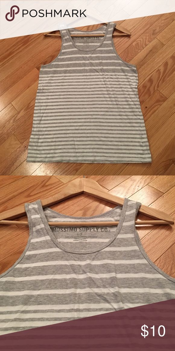 Mossimo Striped Tank Grey and white mixed stripe tank. Great condition. 100% Cotton. Mossimo Supply Co. Shirts