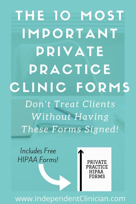 The most important forms you'll need in private practice