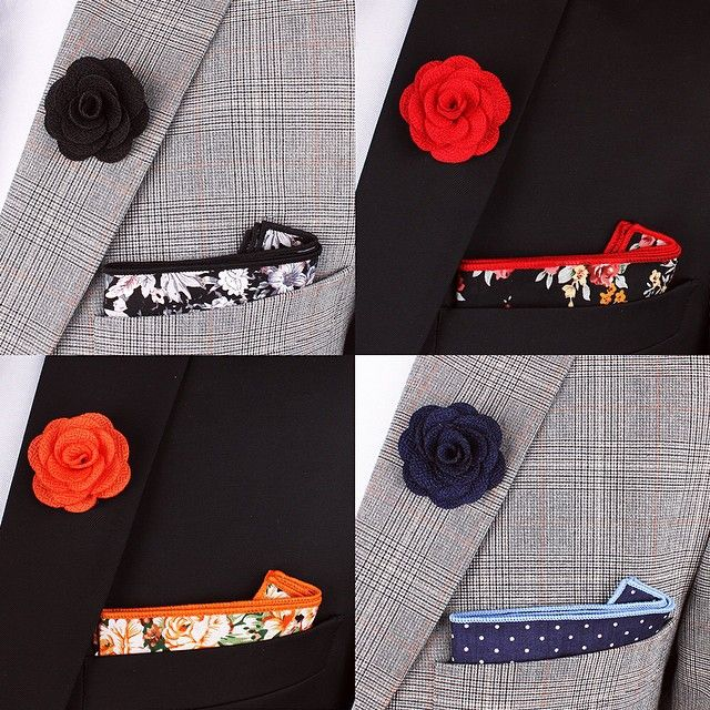 Lapel pin & pocket square combinations  - Which one would you go for?  www.Grandfrank.com