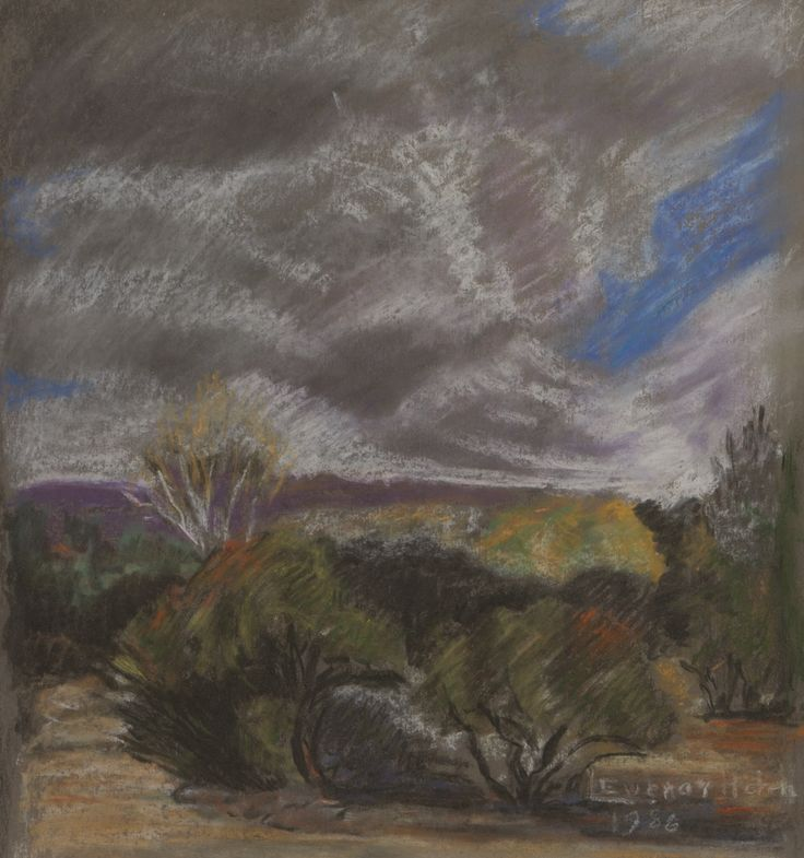 Leonora Everard-Haden (South African 1937 - )  LANDSCAPE WITH APPROACHING STORM (recto) LANDSCAPE (verso) signed and dated 1986; pastel and watercolour on paper; 35 by 32.5cm