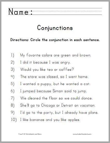 Circle the Conjunctions Worksheet for Grade One - Free to print (PDF).