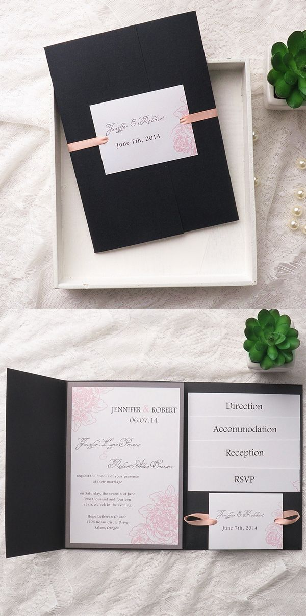 wedding card invitation cards online%0A elegant      trending blush pink and black pocket wedding invitation kits