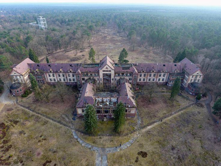 I took my drone to the abandoned Beelitz sanctuary near Berlin [OC] [3880x2910] : AbandonedPorn