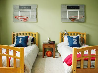 DIY Basketball Goal Decor... SO Cute! And Looks Pretty Easy. @