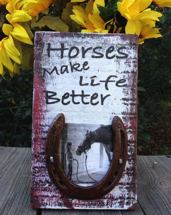 Could maybe make this with our own horse shoe and picture! Super cute! https://www.etsy.com/listing/214977633/rustic-wood-sign-for-barn-horse-person