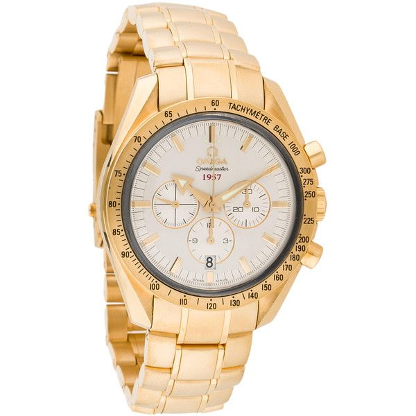 Pre-owned Omega Speedmaster Broad Arrow Watch ($15,650) ❤ liked on Polyvore featuring jewelry, watches, gold, chronograph watch, silver dial watches, pre owned jewelry, chronograph watches and crown jewelry