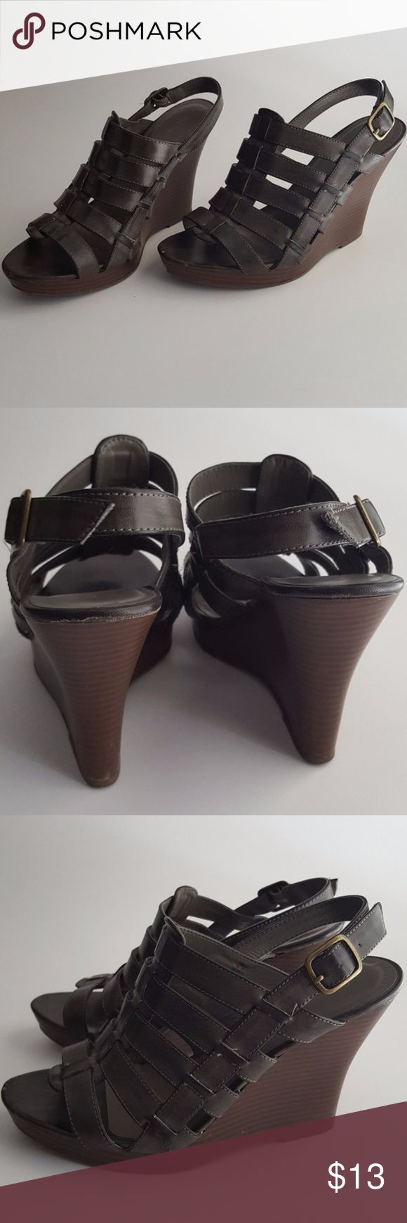 """Old Navy Wedge Sandals Dark gray Old Navy pleather wedge sandals. Size 9. Slight wear in the front of the shoes (see pictures).   1"""" platform & 4.5"""" wedge height. Old Navy Shoes Wedges"""