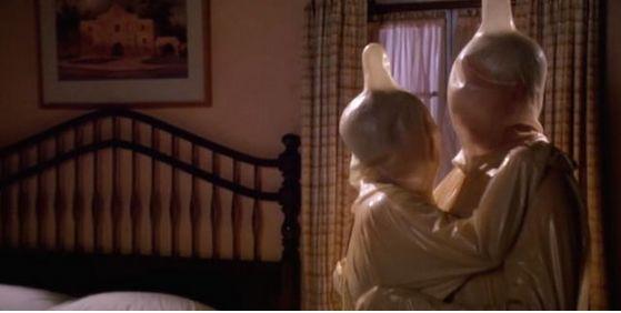 Watch Frank Drebin practice safe sex with Anastasia Steele.