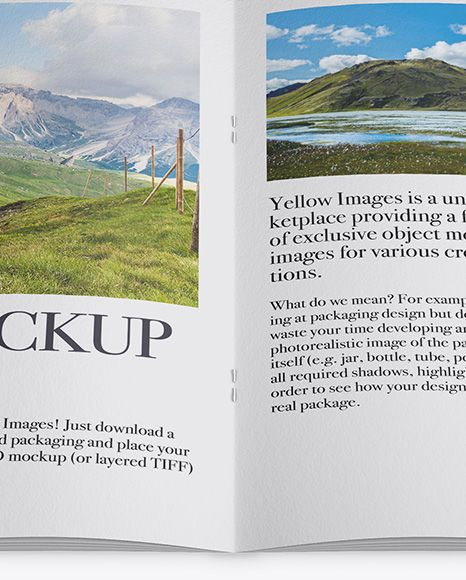 Opened Textured Magazine Mockup - High Angle Shot