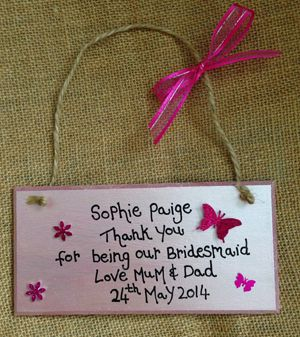 Flowergirl Personalised Thank You Gift Plaque
