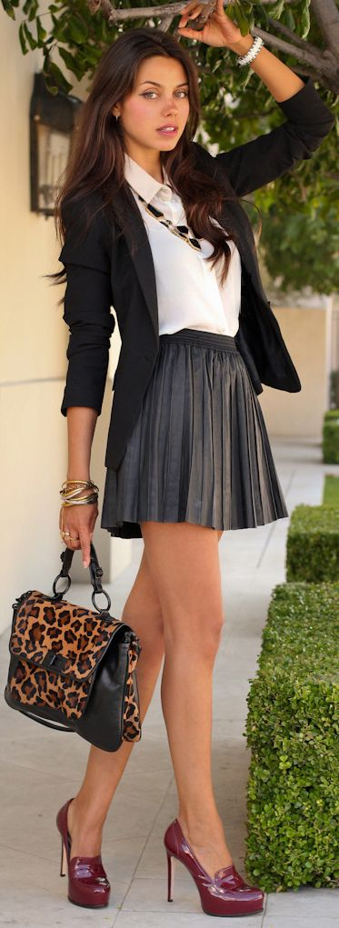 Shoes and the style of the outfit but the skirt is too short. Don't like the bag