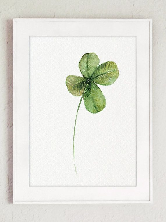 Four leaf clover art print good luck charm decor green for Good luck home decor