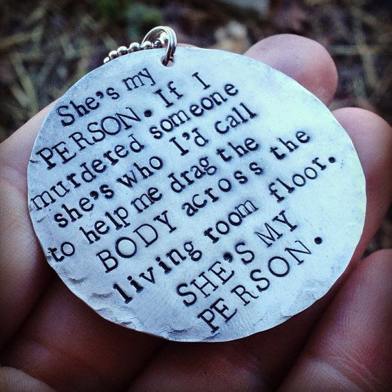hand stamped greys anatomy inspired she's my person necklace on Etsy, $25.00   @Vicki Tensmeyer You and Scarlet need this!