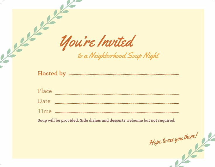 A Soup Night invitation template