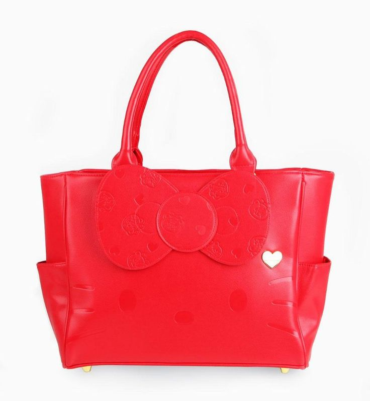 #HelloKitty Red Bow Bag with face embossing and #TinyChum on the bow!