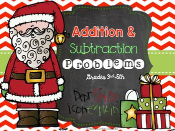 28 addition and subtraction problems. (20 standard algorithm & 12 word problems).-Great for math centers, whole class activities, independent work, and partner work.