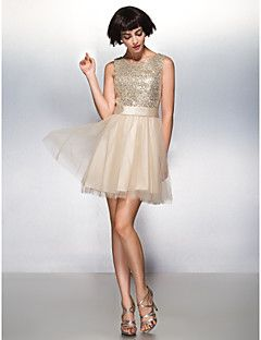 TS+Couture+Cocktail+Party+Prom+Dress+-+Sparkle+&+Shine+A-line+Scoop+Short+/+Mini+Tulle+Sequined+with+Sequins+–+EUR+€+220.50