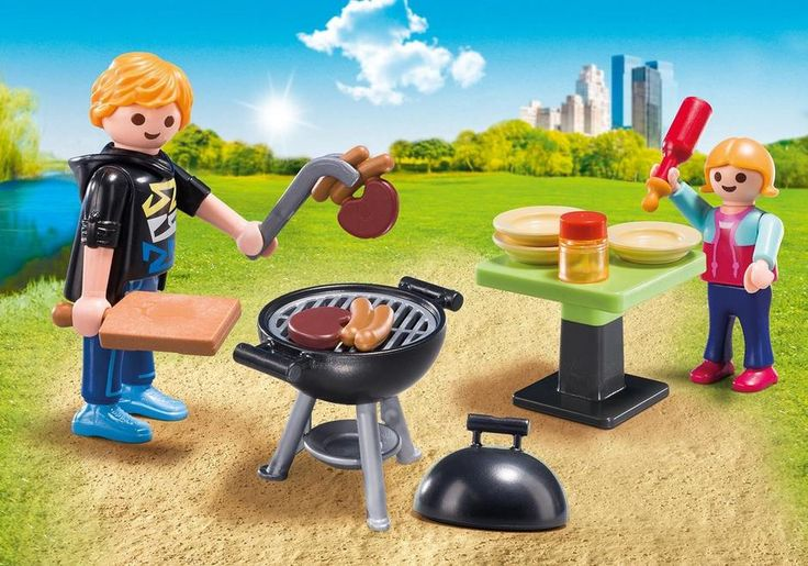 Host a sizzling summer party with the Playmobil Backyard Barbecue Carry Case. Enclosed in an easy, take-along case, this set comes equipped with one adult figure, one child figure, grill, tongs, steak and hotdog, table, condiments, plates, and other accessories. When playtime is over, simply store the pieces inside the case for next time! 4 Years + $19.99