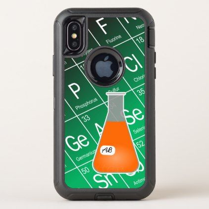 Orange Erlenmeyer Flask (with Initials) Chemistry OtterBox Defender iPhone X Case - initial gift idea style unique special diy