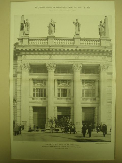 Music Hall at the World's Columbian Exhibition , Chicago, IL, 1894, Charles B. Atwood