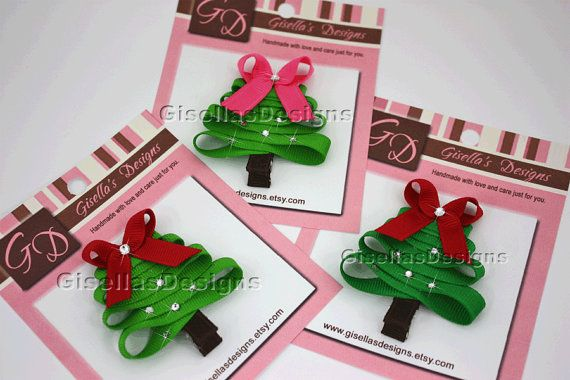 Christmas Tree Ribbon Hair Clip
