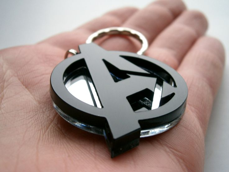 Avengers Necklace, Laser Cut Black and Mirror Avengers Logo Pendant Necklace