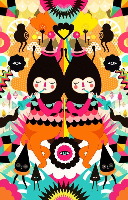 Em seu site, a artista da Guatemala, Muxxi, se define como ilustradora e designer de personagens . Seu trabalho é uma combinação de mundos imaginários cheios de criaturas misteriosas, coloridas e muito gostosinhas de se olhar.